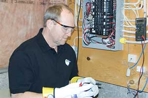 Master Electrician, Randy Frise, at work